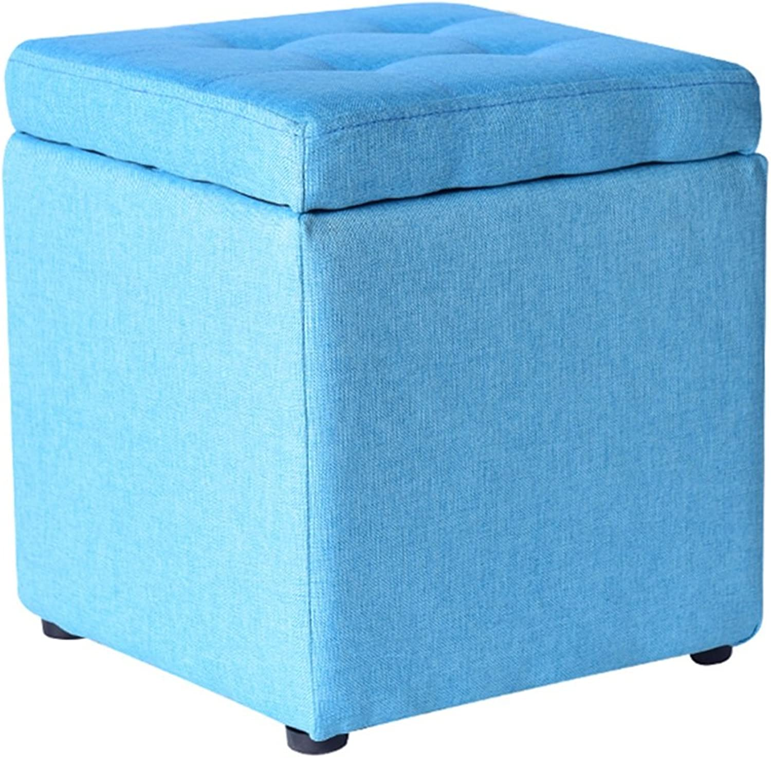 Byx- Cloth Art Storage Stool shoes Bench Foyer Sofa Stool Living Room Fitting Room Bedroom Dressing Table Shopping Mall shoes Store Footstool,30  30  35cm -Footstool with Storage (color   Light bluee)