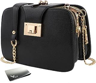 kilofly Women's Faux Leather Chain Clutch Party Purse Shoulder Bag + Money Clip