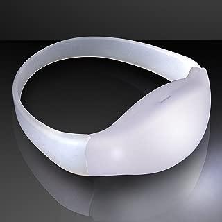 FlashingBlinkyLights Light Up White Motion Activated LED Bracelet (Set of 12)