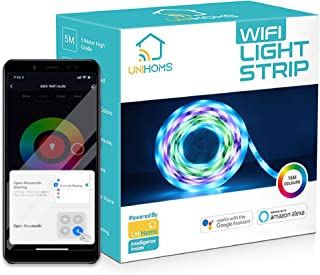UniHoms RGB WiFi Light Strip, 5 Meter High-Grade Silicon 16 Million Colors with App Control and Music Sync, Works with Ama...