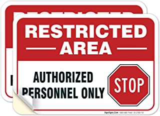 """(2 PACK) Restricted Area Sign Authorized Personnel Only, Don Not Enter Sign, 10x7"""" 4 Mil Sleek Vinyl Decal Stickers Weathe..."""