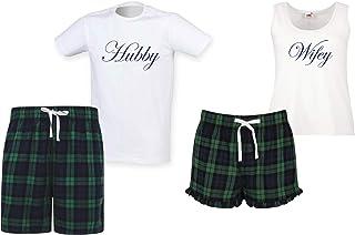60 Second Makeover Limited Hubby Wifey Couples Matching Pyjama Tartan Shorts Set Couples Dog Bulldog