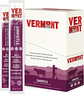 Vermont Smoke & Cure Meat Sticks, Beef & Pork, Antibiotic Free, Gluten Free, Chipotle, 1oz Stick, 24 Count
