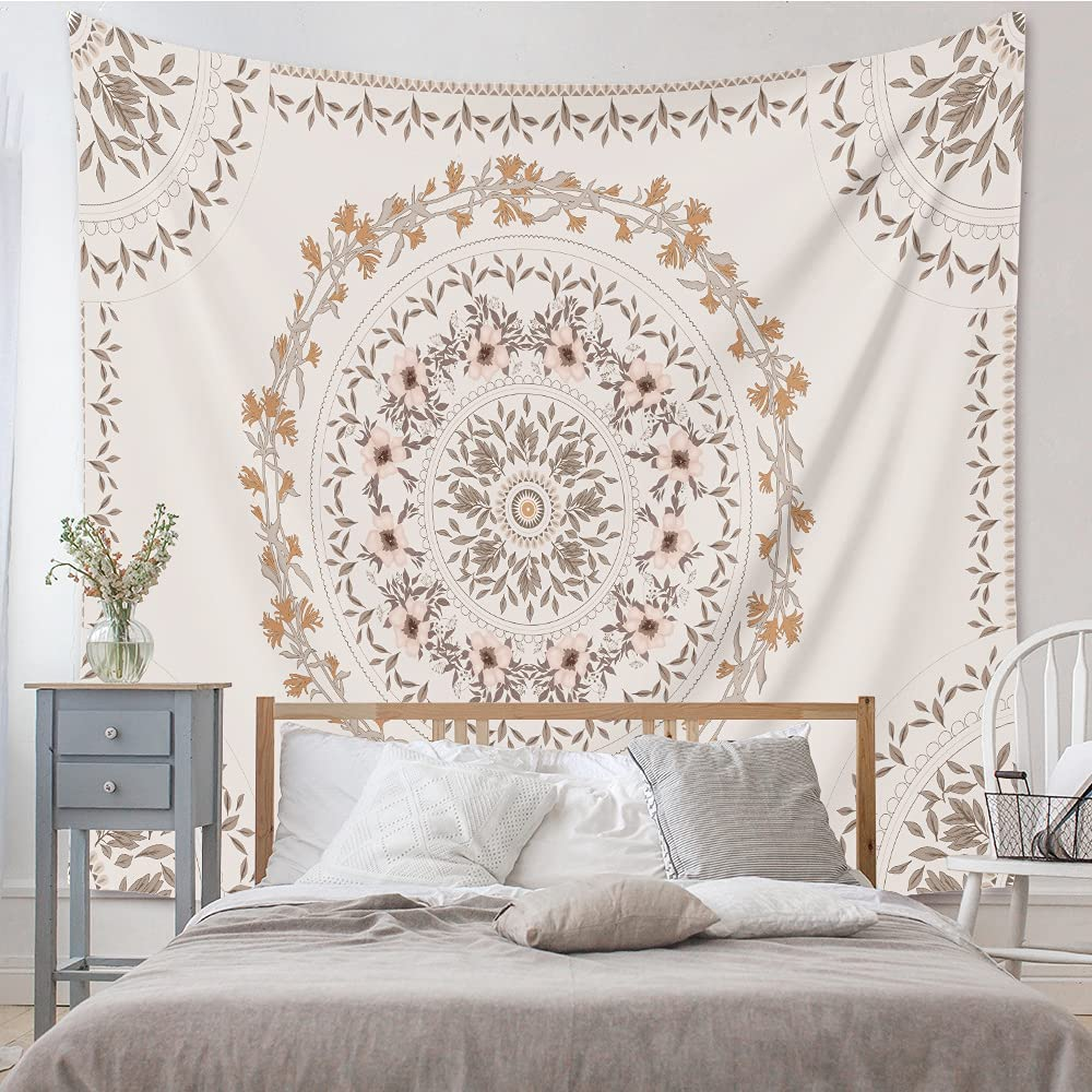 White Bohemian Tapestry Wall Hanging, Mandala Floral Medallion Hippie Tapestry with Light Brown Aesthetic Wreath Design, Cream Wall Decor Blanket for Bedroom Home Dorm