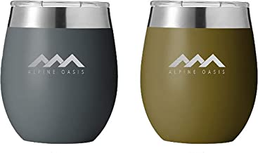 Alpine Oasis Metal 8oz Outdoor Wine Glasses w/Lids (Set of 2), Double Wall Vacuum Sealed Wine Tumblers - BPA Free, Travel, Camping or Home, Unbreakable, Lightweight, Portable
