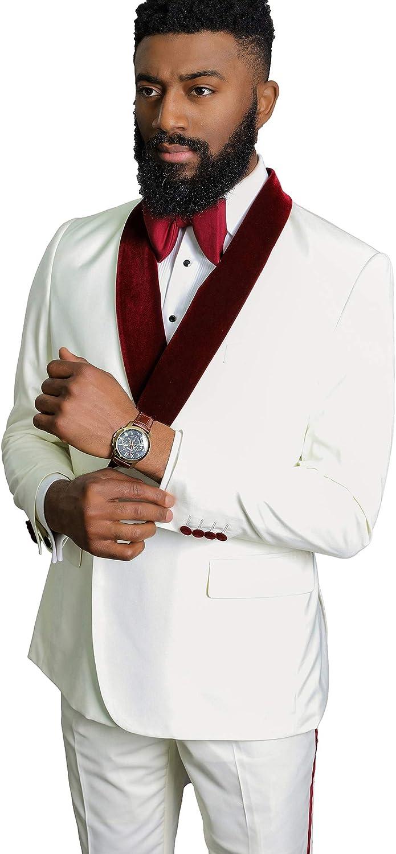 Men's Shawl Lapel Slim Fit 3 PC Prom Groom Tuxedos Wedding Pary Suits
