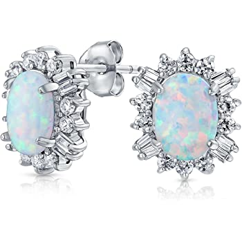 Unique Moon with Lab Created Opal Stud 925 Sterling Silver Post Earrings