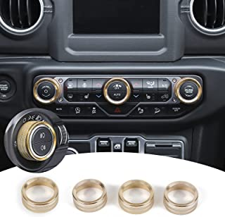 JeCar Air Conditioner Switch Knob Cover & Headlight Knob Cover Aluminum Alloy AC Button Trims for 2018-2021 Jeep Wrangler ...