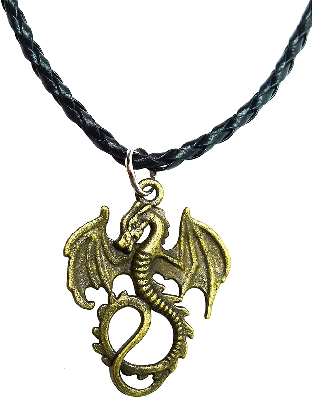 Bijoux De Ja Antique Bronze Gothic Flying Dragon Pendant P'leather Necklace 16+2 Inches