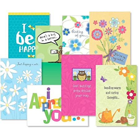 """Thinking of You Greeting Cards Value Pack I - Set of 16 (8 Designs) Large 5"""" x 7"""" Cards, Sentiments Inside, Friendship Cards"""