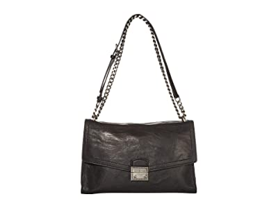 Frye Ella Flap Shoulder (Black) Handbags