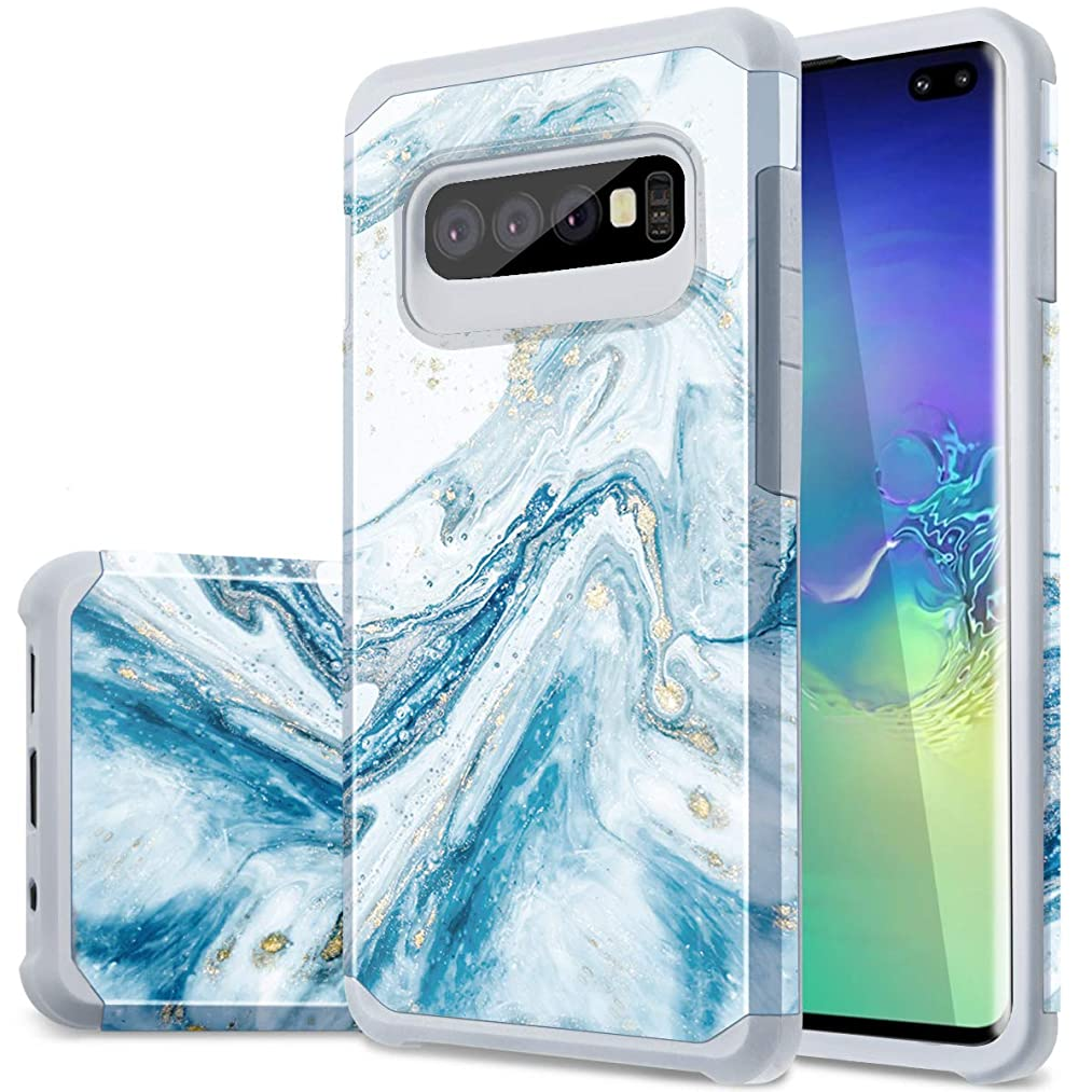Samsung Galaxy S10 Plus Case, Fingic Marble Design Glitter Bumper Hybrid Flexible Soft Rubber Hard PC Anti-Scratch Shockproof Protective Phone Case for Samsung Galaxy S10 Plus 6.4 inch 2019 - Blue