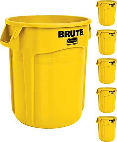 Rubbermaid Commercial Products FG261000YEL BRUTE Yellow Heavy-Duty Trash/Garbage Can, (Pack of 6)