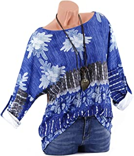 GAOXINGQU Women's Floral Printed Long Sleeve O-Neck T-shirt (Color : Blue, Size : 5XL)