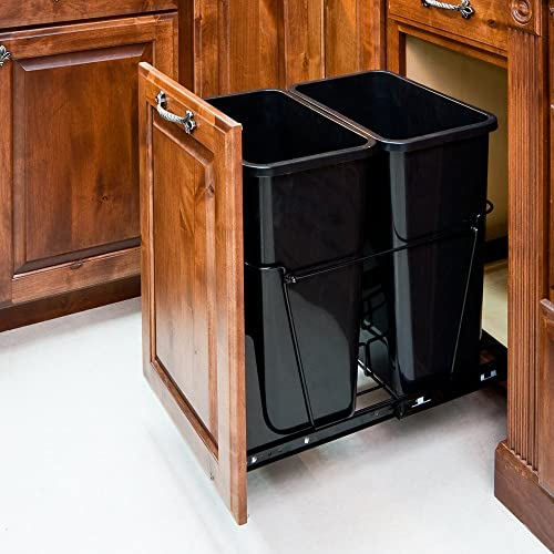 Ordinaire 35 Quart Double Pull Out Waste Container System/2 Cans Included U0026 Doorkit