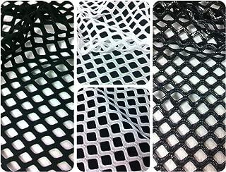 Big Hole Diamond Mesh on Stretch Polyester Spandex Fabric by The Yard (Black)