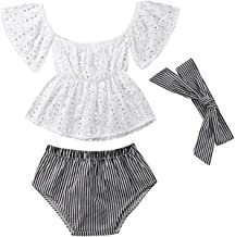 Baby Girl Clothes T-Shirt Top+Striped Pant+Headband Newborn Clothes Toddler Infant