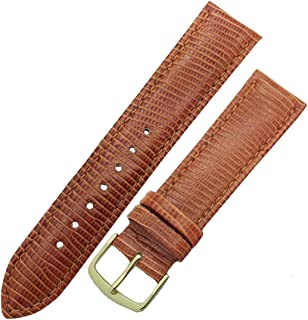 Hadley Roma MS716 17mm Brown Stitched Lizard Grain Men's Strap Watch Band