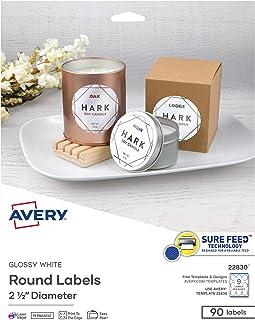 ملصقات Avery دائرية لطابعات ليزر وطابعات نافثة للحبر، 2.5 بوصة، 90 ملصق أبيض لامع (22830)