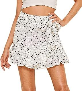 WDIRARA Women's Casual Polka Dot Above Knee Knot Side Ruffle Mini Skirt