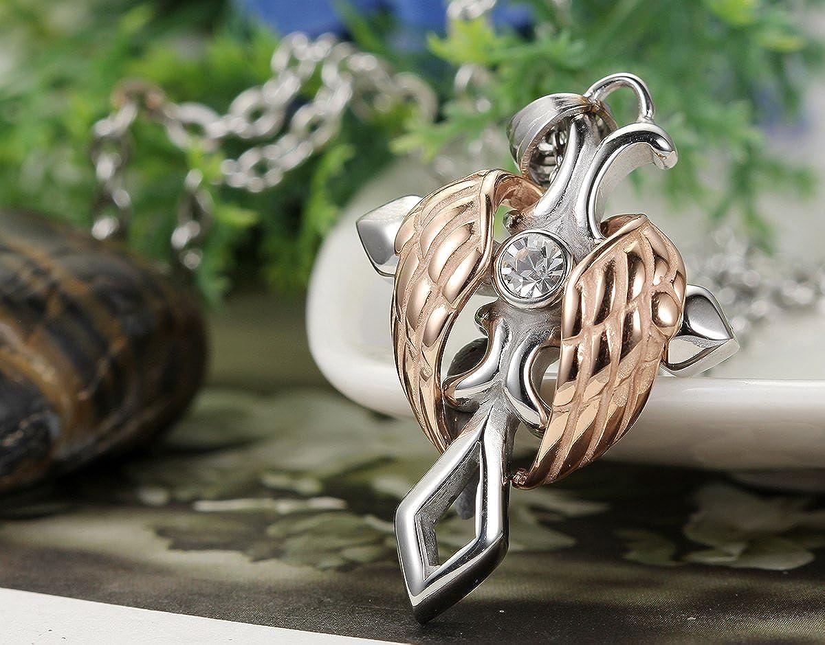 con Cadena de 55/cm flongo colgante collar de acero inoxidable plata oro Rose Oro alas de /ángel cruz cl/ásico jahrgang Hombre Mujer
