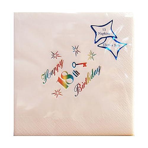Napkins 5 X Cm Paper And 18th 16 Celebration Birthday White gby6f7