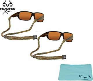 Chums Original Cotton Camoflauge Eyewear Retainer Sunglass Strap | Adjustable Eyeglass & Sports Glasses Holder Keeper Lanyard | 2pk Bundle + Cloth, Realtree Xtra
