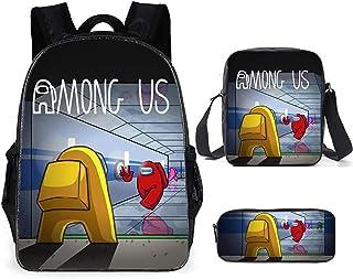 Among Us Conjunto de mochila Mochila escolar Mochila con estampado de dibujos animados con bandoleras y estuche para bolígrafos para regalo de niños y niñas (3 piezas)