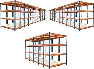 25 estantes de garaje extra resistentes, 1800 mm de alto x 1200 mm de ancho x 450 mm de profundidad revestidos en color azul