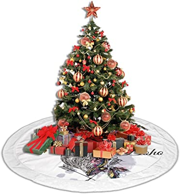 Amazon Com Deer With Feathers And Arrows Holding Rose Flower Plush Lace Christmas Tree Skirt 36 48 White Fringed Border Small Christmas Tree Skirt Gold Red For Party Holiday Decorations Xmas Ornaments Home