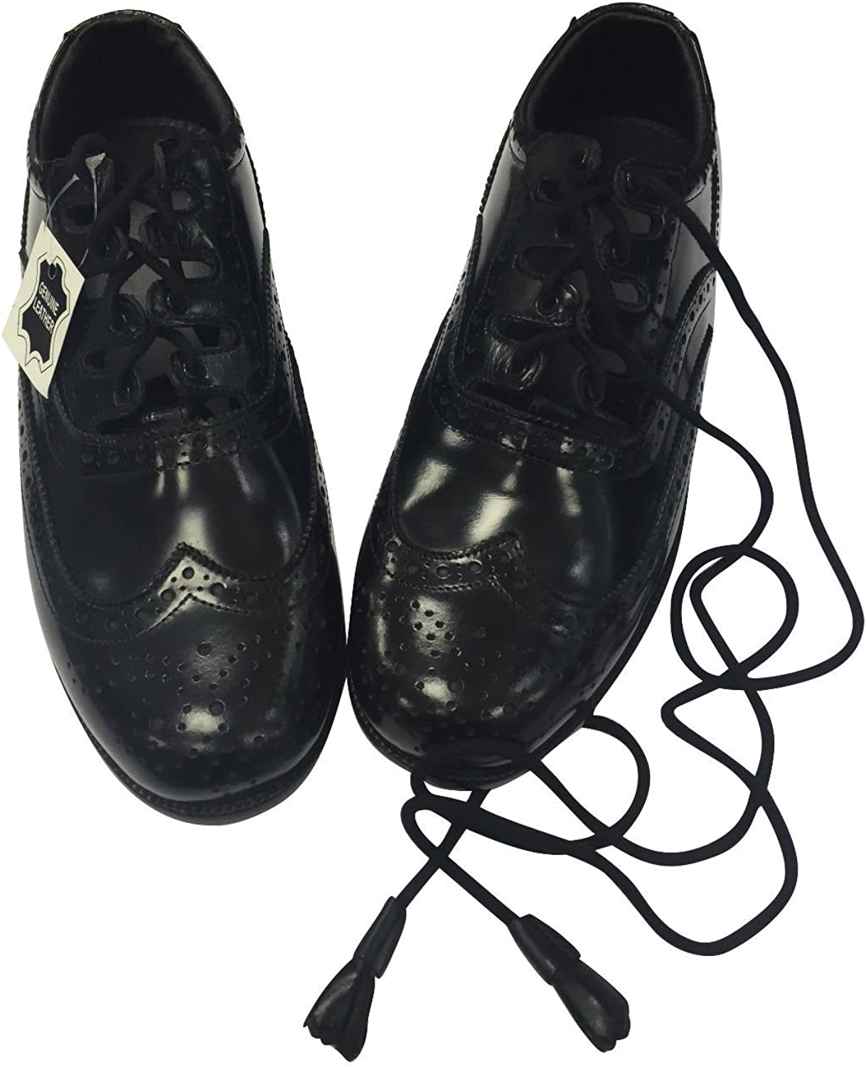 Mens Scottish Highland Black Leather Ghillie Brogues Various Sizes Available
