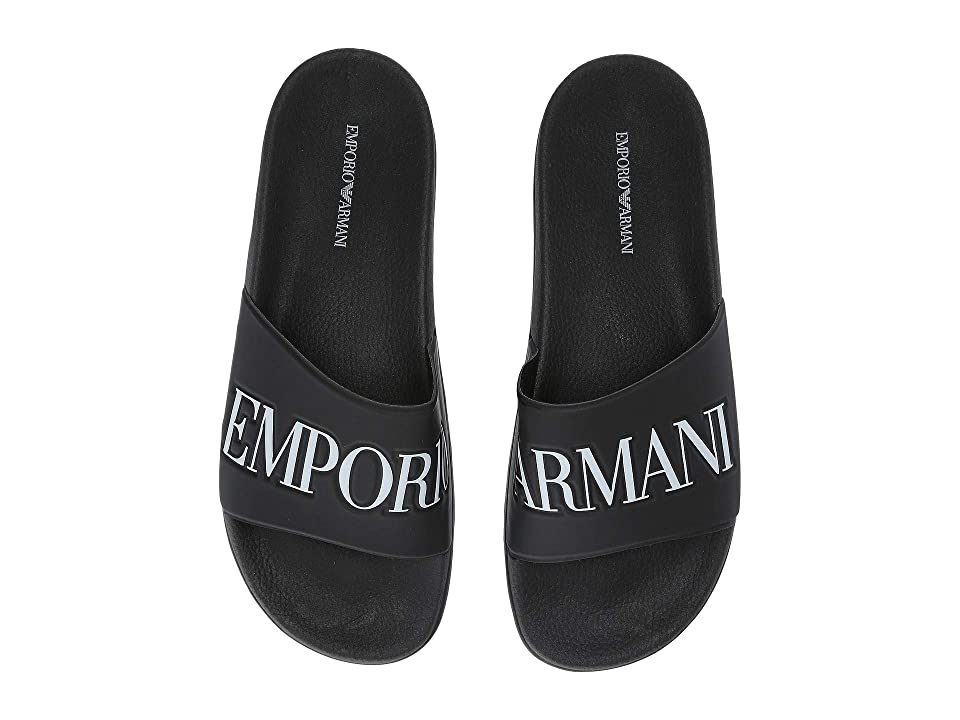 Emporio Armani Logo Sandal (Black/White) Men's Sandals
