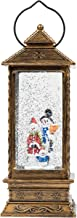 TRIXES LED Decorative Christmas Lantern - Water and Glitter - Indoor Ornament with Snowman Scene - Battery Operated