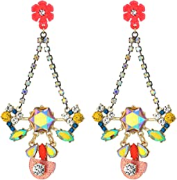 Betsey Johnson Colorful Floral Chandelier Earrings