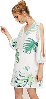 Women's Tropical Print Split Sleeve Dress
