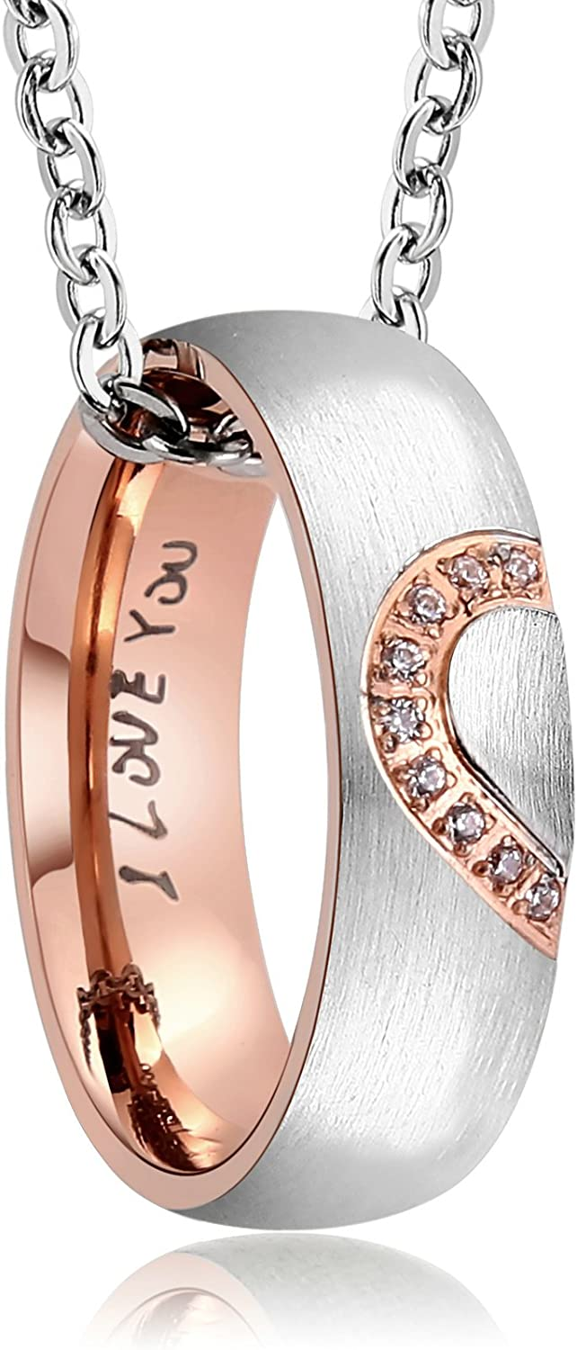 AnazoZ His Hers Real Love Heart Promise Ring Stainless Steel Couple Wedding Engagement Bands Top Ring 6MM