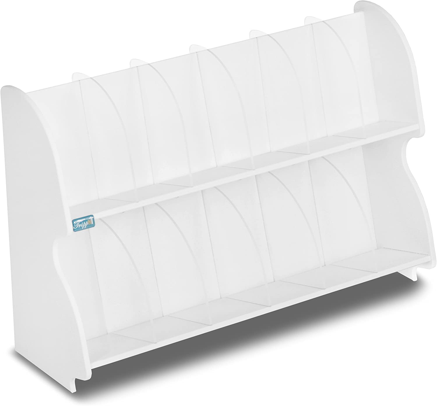 TrippNT 51069 PVC Plastic Double Adjustable Shelf with 10 Dividers, 18-Inch Width x 12-Inch Height x 6-Inch Depth