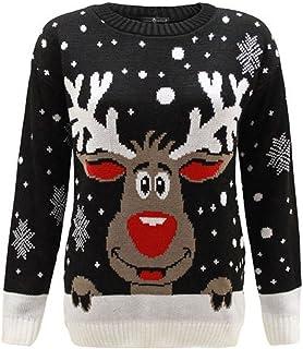 60150e3245fa5 1KLICKGLOBAL - Pull Tricot Rudolph Reindeer de Noël Femmes Hommes Unisexe