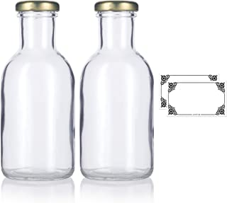 12oz Clear Glass Decanter Sauce Bottles with Gold Metal Lug Caps (2 pack) + Labels for Juice, Sauce, Dressings, and Marinades