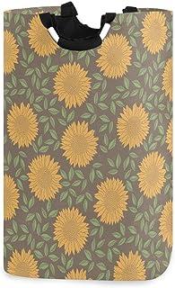 N\A Vintage Daisy Floral Leaves Flower Panier à Linge avec poignées Panier de Rangement Pliable étanche Grand Corbeille à ...