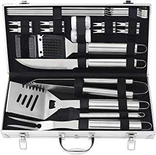 POLIGO 20pcs Barbecue Grill Utensils Kit Stainless Steel BBQ Grill Tools Set - Premium Camping Grill Accessories in Alumin...