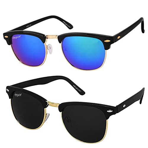01ec5e6c89 Elegante Combo of UV Protected Golden Blue Mirrored   Black Clubmaster  Sunglasses for Boys