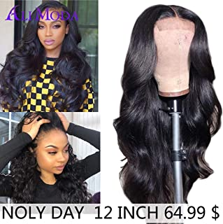 Ali Moda Body Wave Lace Front Wigs Human Hair 150% Density Brazilian Body Wave Virgin Remy Wigs with Baby Hair For Black Woman Natural Color (12