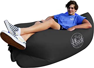 The Survival Guide Inflatable Air Sofa   Portable Lounger Couch for Indoor & Outdoor Use Camping, Beach & Festival   Easy to Inflate Hammock Couches with Carry-on Bag   Pillow-Shaped Headrest Design
