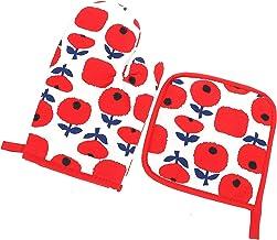Lurrose Forno Mitts E Pegadores De Panela Resistente Ao Calor Cozinhar Microondas Luvas Flor Impresso Hot Pad Prato Decora...