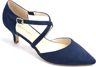 Greatonu Women Shoes Cross Elastic Strap Kitten Heels Dress Party Pumps