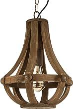 EGLO hanglamp Kinross, 1 vlammige kroonluchter vintage, retro, rustiek, hanglamp hout en staal, eettafellamp in bruin, woo...