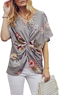 Dokotoo Womens Fashion Floral Print Shirts Short Sleeve V Neck Twist Tops and Blouse S-XXL