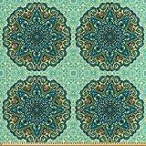 ABAKUHAUS Ethnisch Stoff als Meterware, Abstrakte Blume