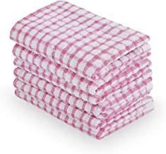uxcell Cotton Terry Kitchen Dish Cloth, Absorbent and Quick Drying Cleaning Dish Rags, 15 x 10.5 Inches, Pack of 6, Pink